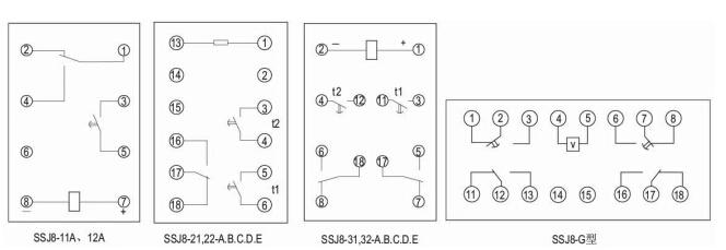 七,内部接线及外引接线图(背后图) ssj8-10采用hk-1壳体,见251页附图