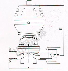 盖米型卫生级气动隔膜阀尺寸图